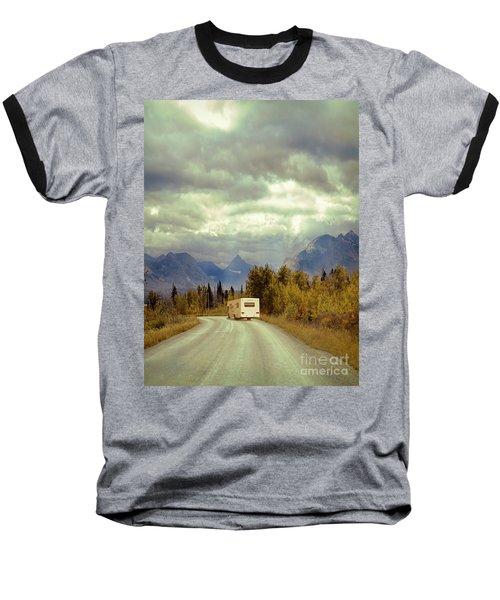 Baseball T-Shirt featuring the photograph White Rv In Montana by Jill Battaglia