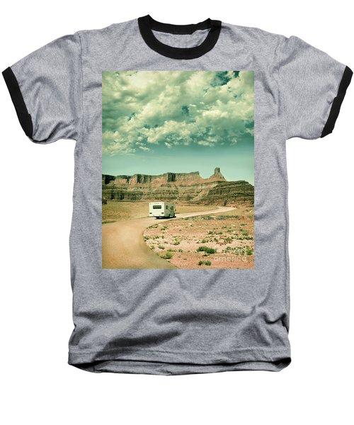 Baseball T-Shirt featuring the photograph White Rv In Utah by Jill Battaglia