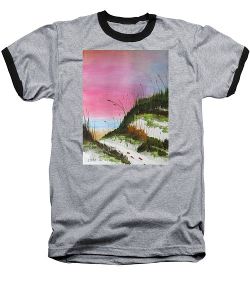 Baseball T-Shirt featuring the painting White Sandy Beach by Jack G Brauer
