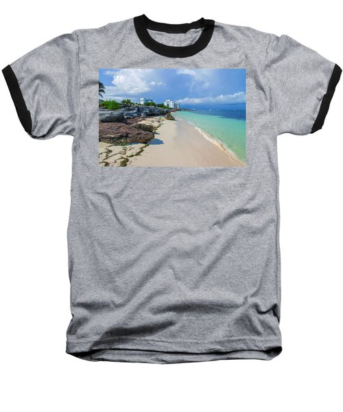 White Sandy Beach Of Cancun Baseball T-Shirt