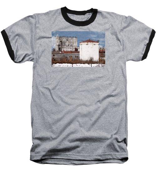 White Silo And Grain Elevator Baseball T-Shirt by David Blank