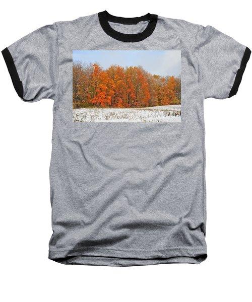 White Snow In Autumn Baseball T-Shirt