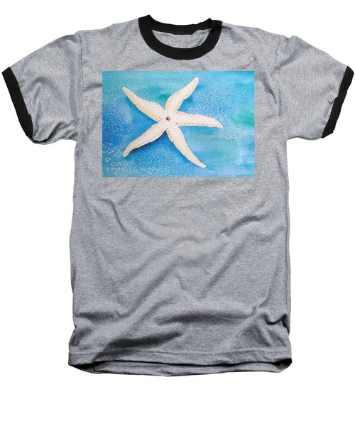 White Starfish Baseball T-Shirt by Patricia Piffath