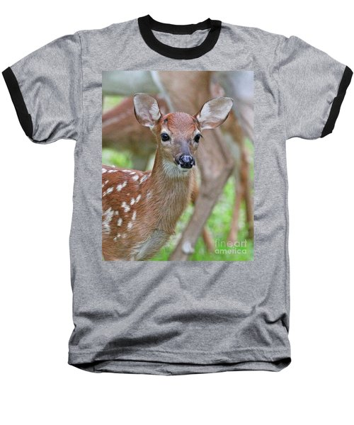 White Tail Deer Fawn Baseball T-Shirt