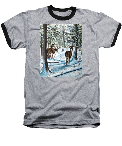 White Tail Deer In Winter Baseball T-Shirt by Patricia L Davidson