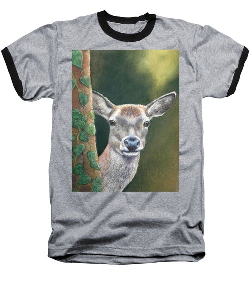 Baseball T-Shirt featuring the painting White Tail Doe At Ancon Hill by Ceci Watson