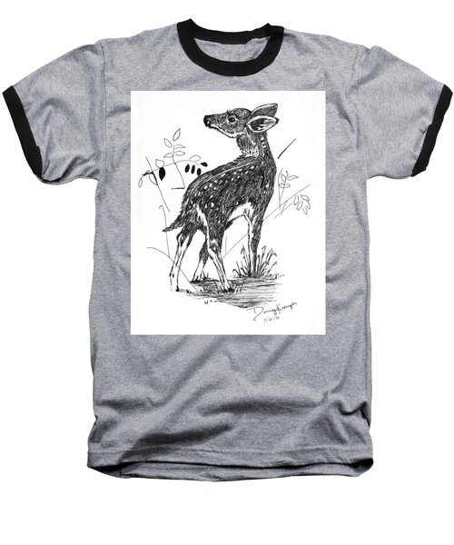 White-tail Fawn -pen And Ink Baseball T-Shirt