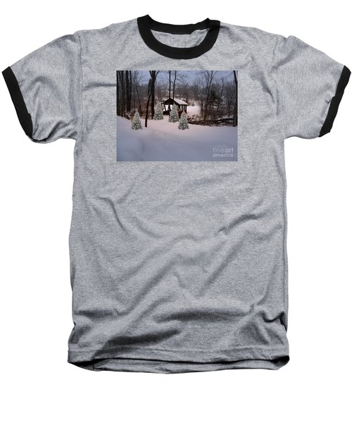 White Tailed Buck At Belmont N H Covered Bridge Baseball T-Shirt by Mim White