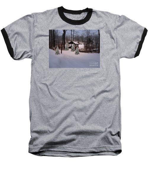 White Tailed Buck At Belmont N H Covered Bridge Baseball T-Shirt