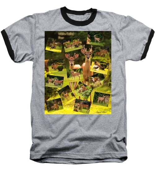 Baseball T-Shirt featuring the photograph White-tailed Collage by Angel Cher