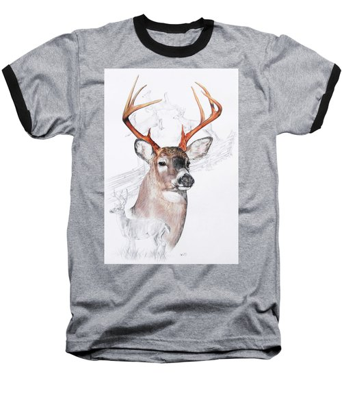 White-tailed Deer Baseball T-Shirt by Barbara Keith