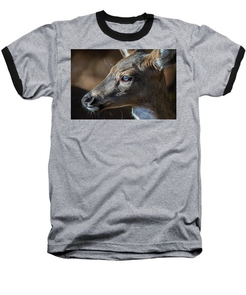 White Tailed Deer Facial Profile Closeup Portrait Baseball T-Shirt