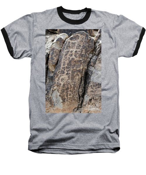 Baseball T-Shirt featuring the photograph White Tank Petroglyphs #1 by Anne Rodkin