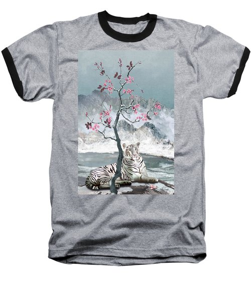 White Tiger And Plum Tree Baseball T-Shirt