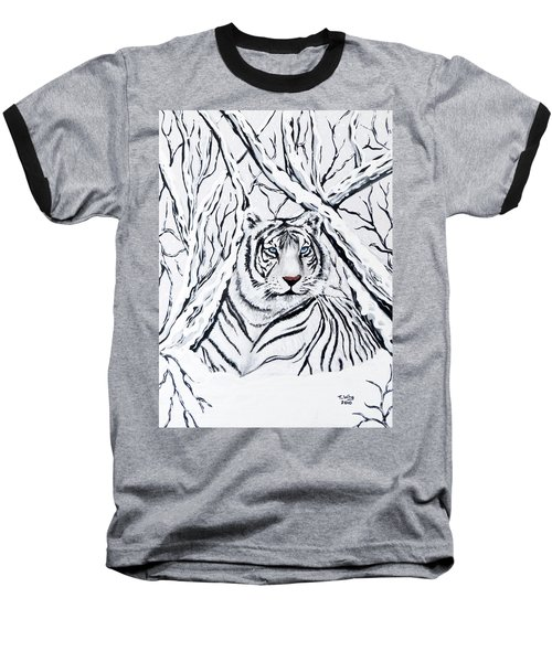 White Tiger Blending In Baseball T-Shirt by Teresa Wing