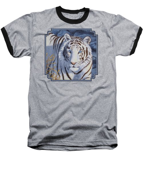 White Tiger - Crystal Eyes Baseball T-Shirt by Crista Forest