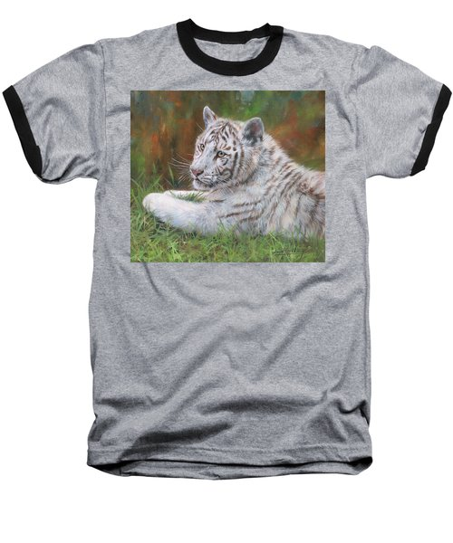 Baseball T-Shirt featuring the painting White Tiger Cub 2 by David Stribbling