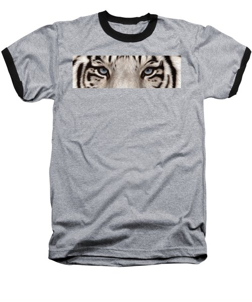 White Tiger Eyes Baseball T-Shirt