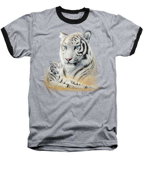 White Tiger Baseball T-Shirt by Lucie Bilodeau