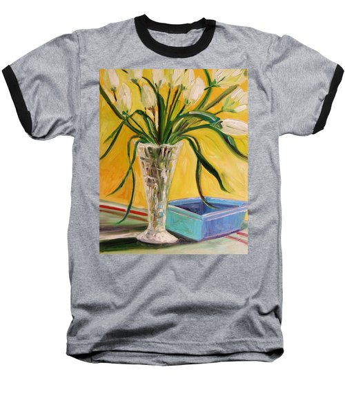 White Tulips In Cut Glass Baseball T-Shirt