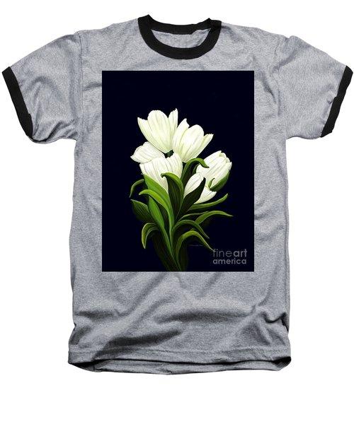 White Tulips Baseball T-Shirt