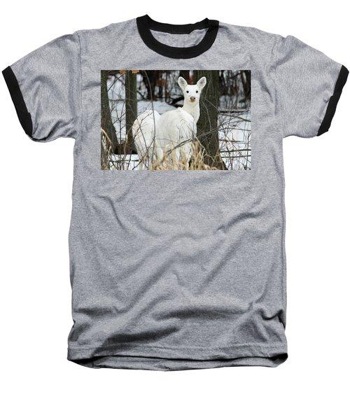 White Visitor Baseball T-Shirt by Brook Burling