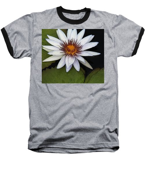 White Water Lily Baseball T-Shirt by Yvonne Wright