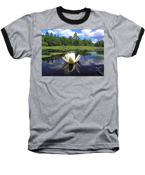 White Waterlily On A Lake Baseball T-Shirt