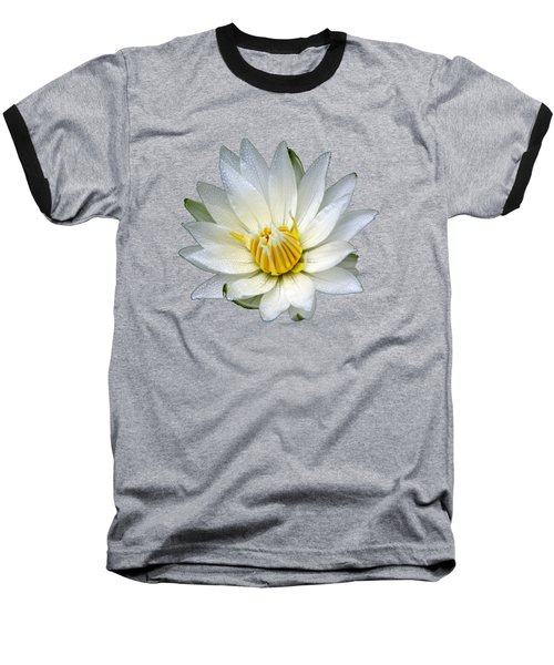 White Waterlily With Dewdrops Baseball T-Shirt by Rose Santuci-Sofranko