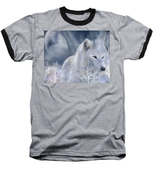 Baseball T-Shirt featuring the mixed media White Wolf by Carol Cavalaris