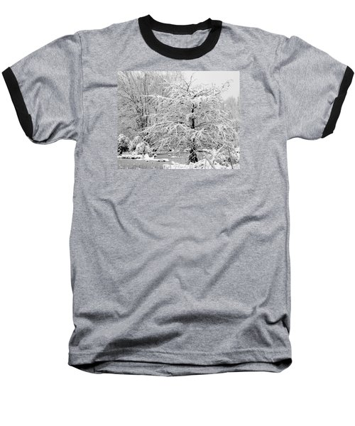 Whiteout In The Wetlands Baseball T-Shirt by John Harding