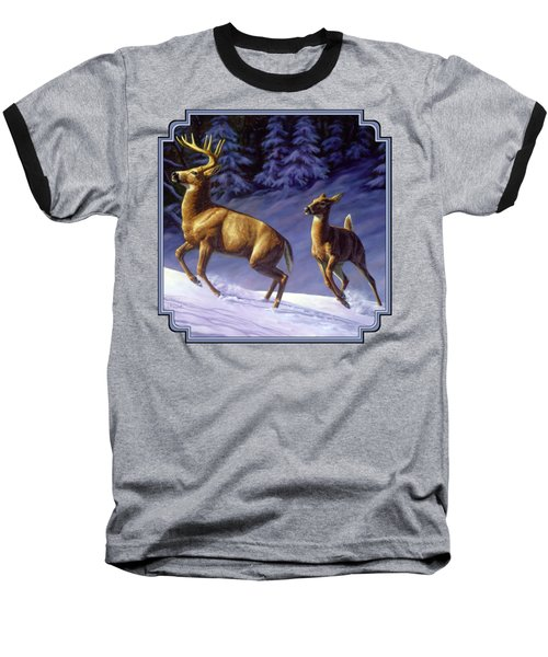 Whitetail Deer Painting - Startled Baseball T-Shirt by Crista Forest
