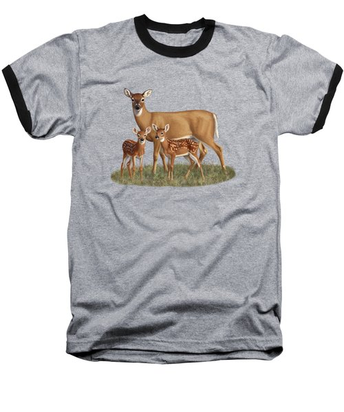 Whitetail Doe And Fawns - Mom's Little Spring Blossoms Baseball T-Shirt by Crista Forest