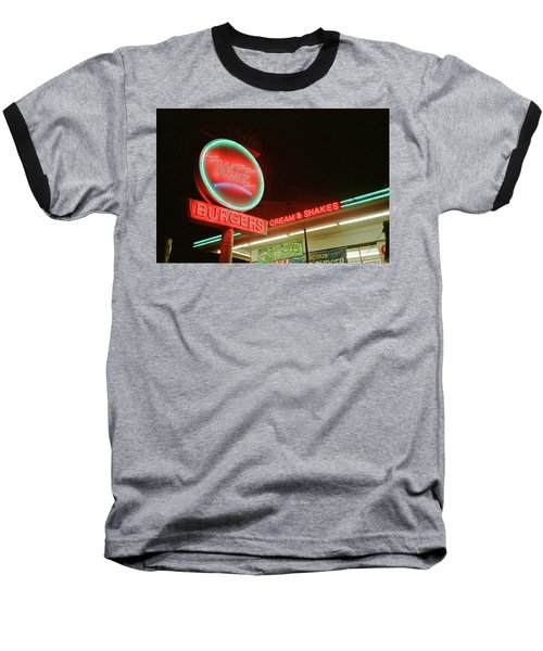 Baseball T-Shirt featuring the photograph Whiz Burgers Neon, San Francisco by Frank DiMarco