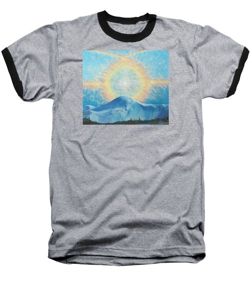 Who Makes The Clouds His Chariot Fire Rainbow Over Alberta Peak Baseball T-Shirt