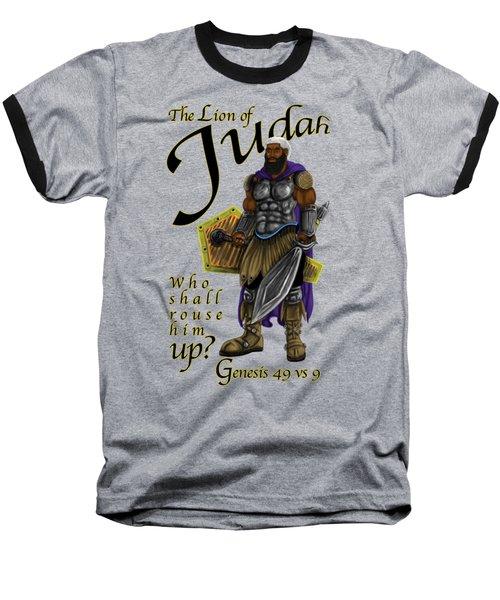 Who Shall Rouse Judah-yellow Trim Baseball T-Shirt