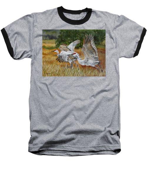 Sandhill Cranes In A Field Baseball T-Shirt by Phyllis Beiser