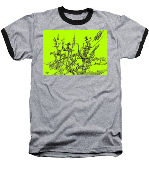 Whooshh -  Lime Background Baseball T-Shirt by Charles Cater