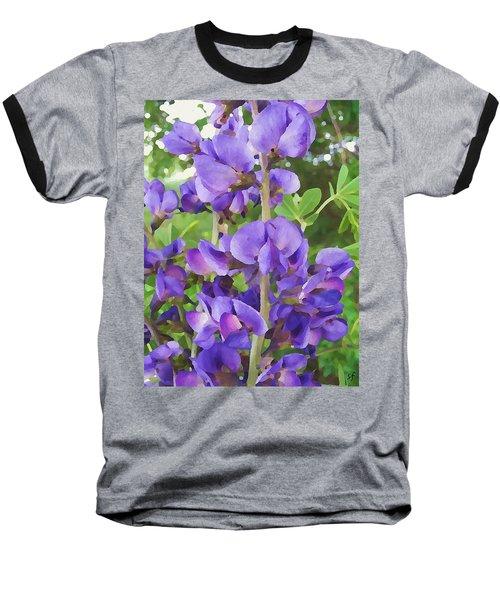 Baseball T-Shirt featuring the digital art Wild Blue False Indigo by Shelli Fitzpatrick
