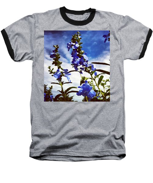 Baseball T-Shirt featuring the digital art Wild Blue Sage  by Shelli Fitzpatrick