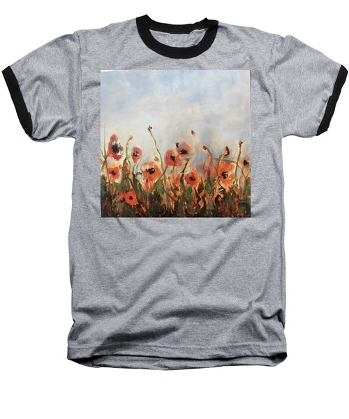 Wild Corn Poppies Underpainting Baseball T-Shirt