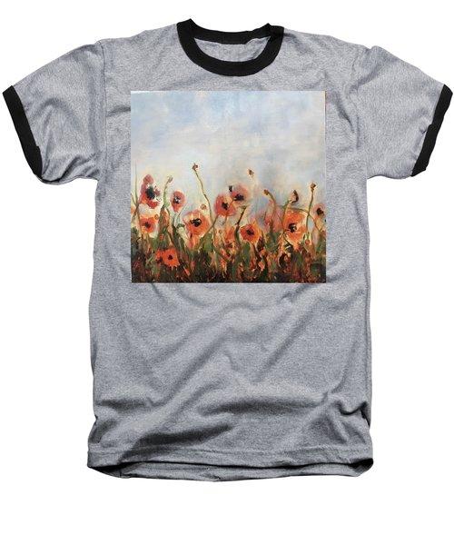 Wild Corn Poppies Underpainting Baseball T-Shirt
