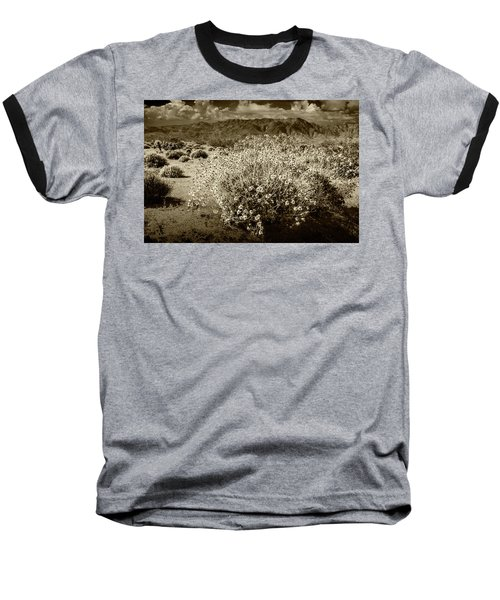 Baseball T-Shirt featuring the photograph Wild Desert Flowers Blooming In Sepia Tone  by Randall Nyhof