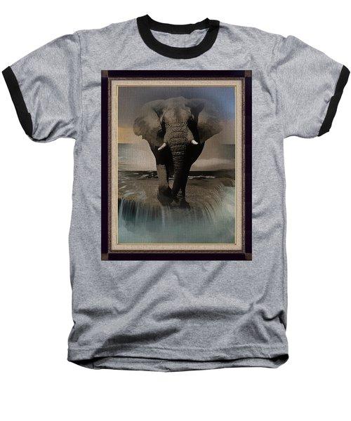 Wild Elephant Montage Baseball T-Shirt