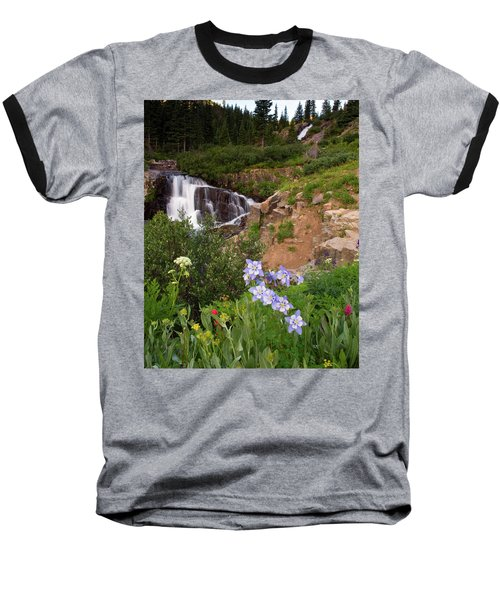 Baseball T-Shirt featuring the photograph Wild Flowers And Waterfalls by Steve Stuller