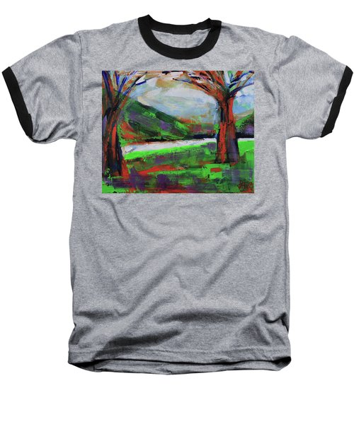 Baseball T-Shirt featuring the painting Wild Flowers On The River Banks by Walter Fahmy