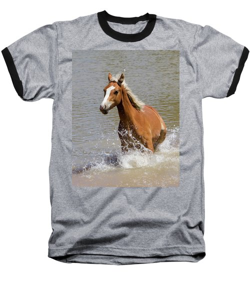 Wild Horse Splashing At The Water Hole Baseball T-Shirt
