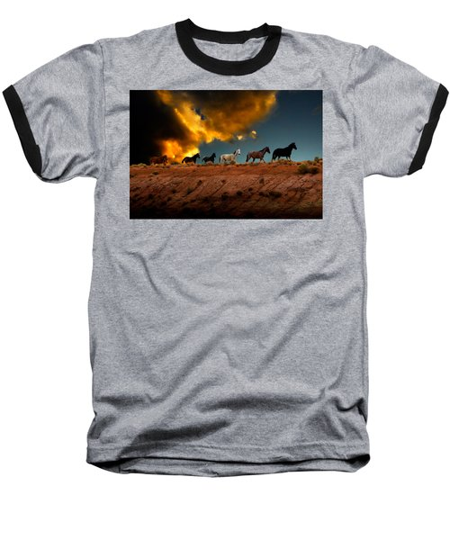 Wild Horses At Sunset Baseball T-Shirt
