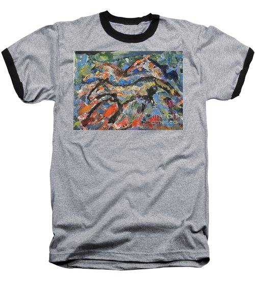 Baseball T-Shirt featuring the painting Wild Horses by Ellen Anthony