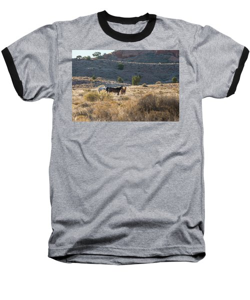 Baseball T-Shirt featuring the photograph Wild Horses In Monument Valley by Jon Glaser